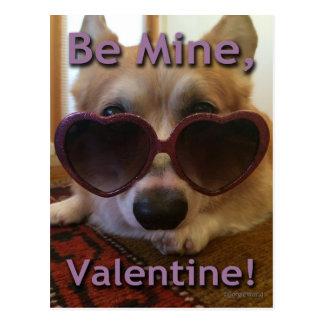 """""""Be Mine, Valentine!"""" Corgi Postcard"""