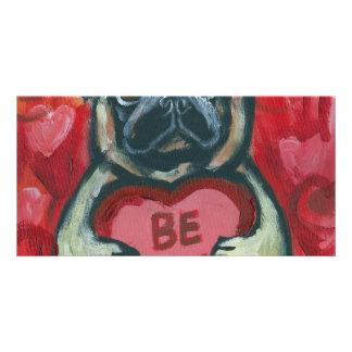 Be Mine Valentine Pug Personalized Photo Card