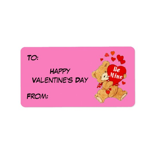 Be Mine Valentine Teddy on Pink Address Label