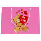 Be Mine Valentine Teddy on Pink Large Gift Bag