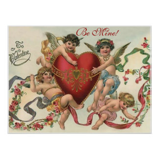 Be Mine Valentine Vintage Print