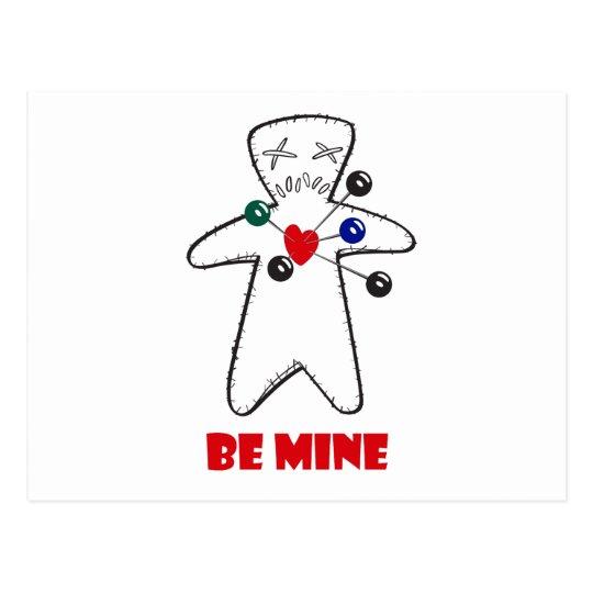 """Be Mine"" Voodoo Doll Postcard"