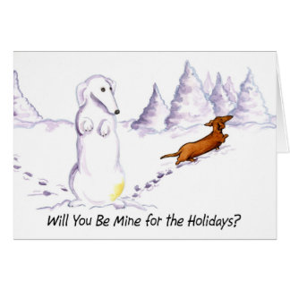 Be Mine Weiner Dog Christmas Card