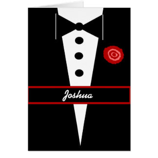 Be My Best Man CUSTOM NAME Card Tux and Rose 1