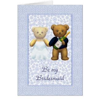 Be my Bridesmaid Blue Teddy bear couple invite