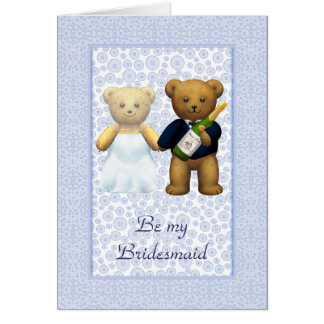 Be my Bridesmaid Blue Teddy bear couple invite Card