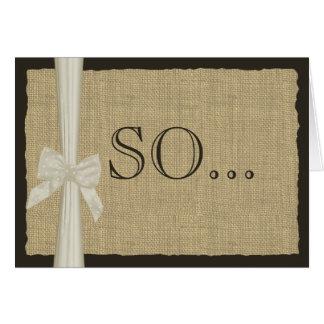 Be My Bridesmaid Burlap and Bow Card