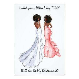 Be My Bridesmaid Card- African American - Afro 13 Cm X 18 Cm Invitation Card