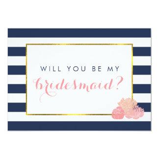 Be My Bridesmaid Card   Navy Stripe & Blush Peony