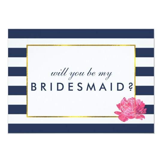 Be My Bridesmaid Card | Navy Stripe &