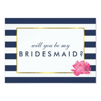 Be My Bridesmaid Card | Navy Stripe & Pink Peony 13 Cm X 18 Cm Invitation Card