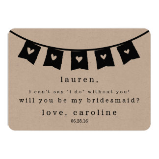 Be My Bridesmaid Card | Rustic Kraft Hearts