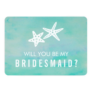 Be My Bridesmaid Card | Starfish Aqua