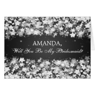 Be My Bridesmaid Dazzling Stars Black Card
