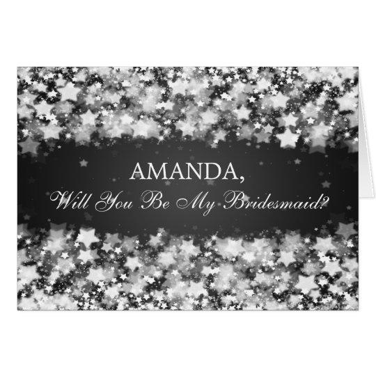 Be My Bridesmaid Dazzling Stars Black Card