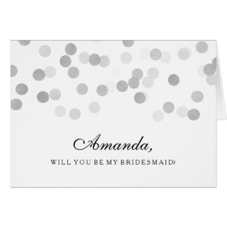 Be My Bridesmaid Faux Silver Foil Glitter Lights Card