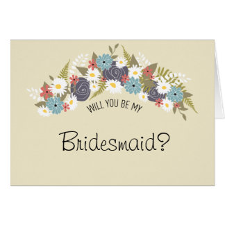 Be My Bridesmaid Floral Wreath Cards