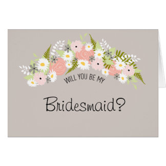 Be My Bridesmaid Floral Wreath Card