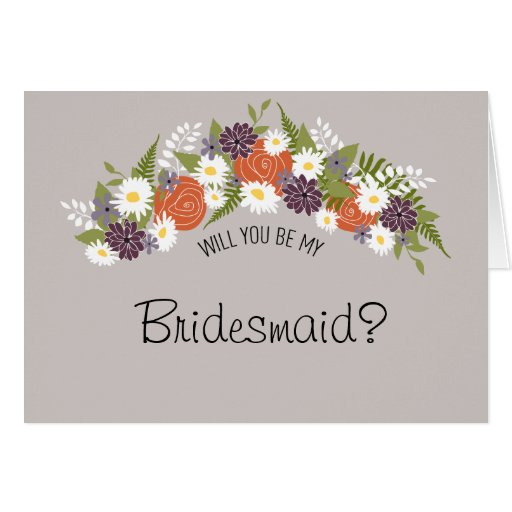 Be My Bridesmaid Floral Wreath Greeting Card