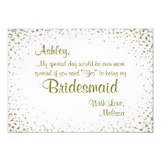 Be My Bridesmaid | Gold Confetti Card at Zazzle