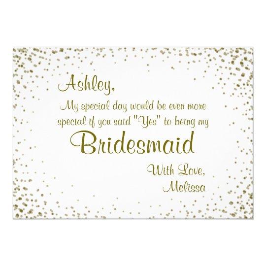 Be My Bridesmaid Gold Confetti Card Zazzlecouk