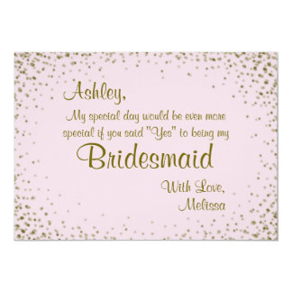 Be My Bridesmaid | Gold Confetti on Blush Card