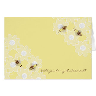 Be My Bridesmaid Honey Bees on Yellow Card