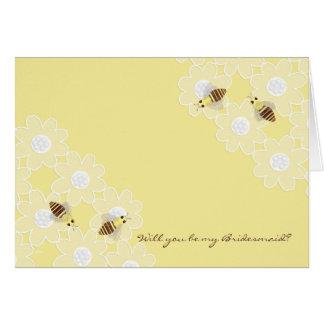 Be My Bridesmaid Honey Bees on Yellow Greeting Card