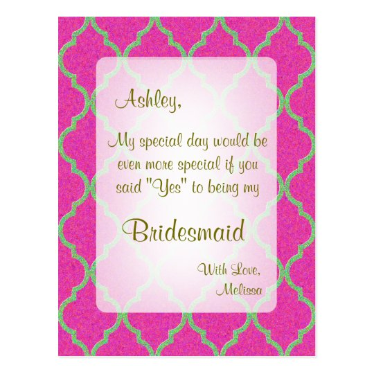 Be My Bridesmaid | Hot Pink Quatrefoil Postcard