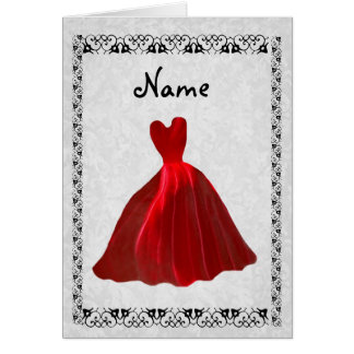 Be My Bridesmaid Invitation - RED Velvet Gown Greeting Cards
