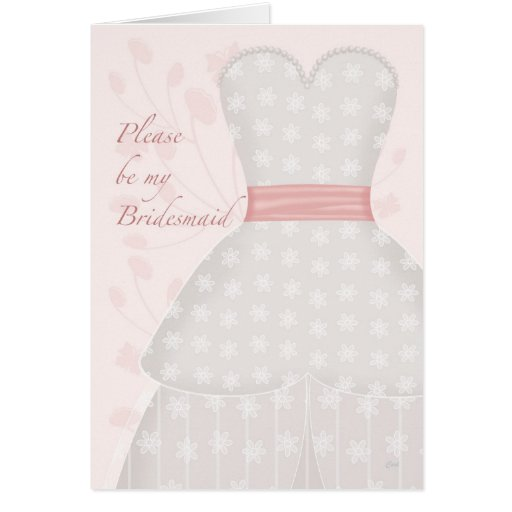 Be My Bridesmaid Lace Gown Coral Cards