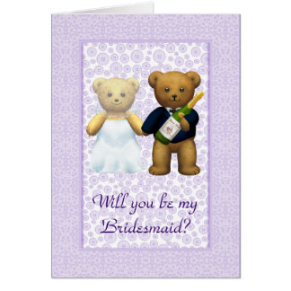 Be my Bridesmaid Lilac Teddy bear couple invite Greeting Card