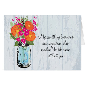 Be My Bridesmaid Mason Jar Gerber Daisies Card