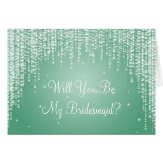 Be My Bridesmaid Night Dazzle Mint Green Card