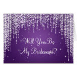 Be My Bridesmaid Night Dazzle Purple Greeting Card