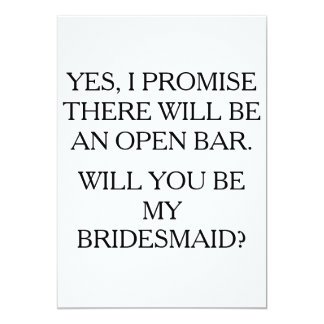 be my bridesmaid open bar funny card