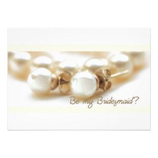 Be my bridesmaid - pearl earrings in beige custom invitation