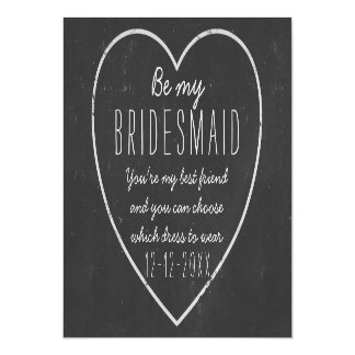 Be My Bridesmaid Request - faux chalkboard framed Magnetic Invitations