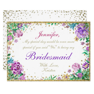 Be My Bridesmaid | Watercolor Flowers Card