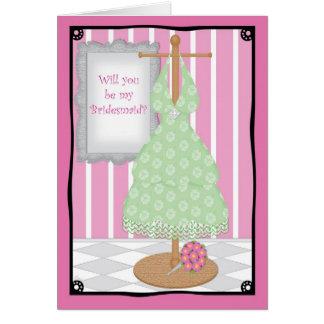 Be My Bridesmaid Whimsical Dress Shop Card