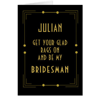 Be My Bridesman Request Card 1920s Wedding Theme