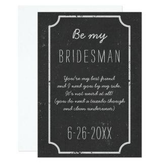 Be My Bridesman Request Flat Chalkboard Wedding 13 Cm X 18 Cm Invitation Card