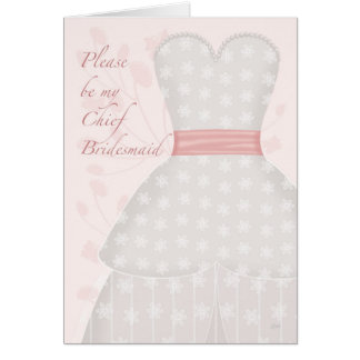 Be My Chief Bridesmaid Lace Gown Coral Card
