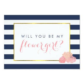 Be My Flower Girl Card | Navy Stripe & Blush Peony 13 Cm X 18 Cm Invitation Card