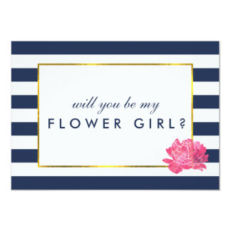 Be My Flower Girl Card | Navy Stripe & Pink Peony