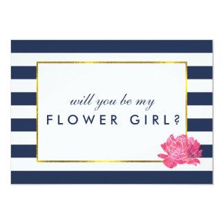 Be My Flower Girl Card | Navy Stripe & Pink Peony 13 Cm X 18 Cm Invitation Card