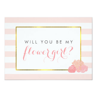 Be My Flower Girl Card | Pink Stripe Blush Peony 13 Cm X 18 Cm Invitation Card