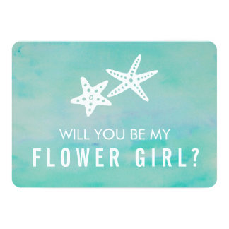 Be My Flower Girl Card | Starfish Aqua