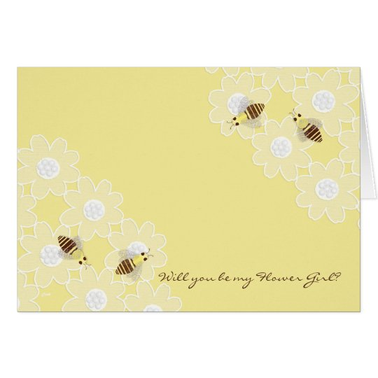 Be My Flower Girl Honey Bees on Yellow