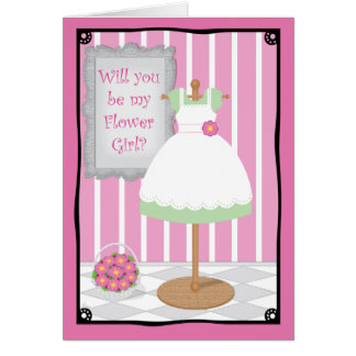 Be My Flower Girl Whimsical Dress Shop Cards